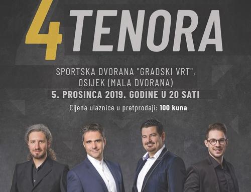 Prodaja ulaznica za gala koncert ansambla 4 TENORA u Osijeku počinje u petak, 25. listopada 2019.